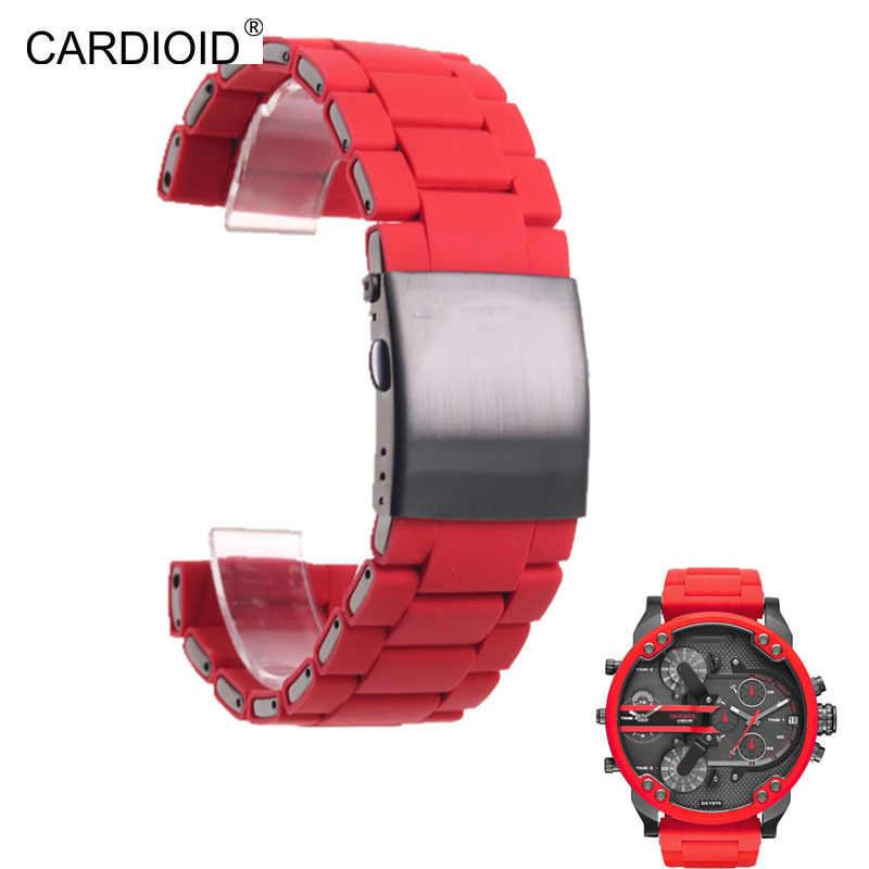 28 millimetri cinturino in gomma impermeabile per Diesel DZ7396 DZ7370 DZ428 orologio banda di silicone e bracciale in acciaio inossidabile