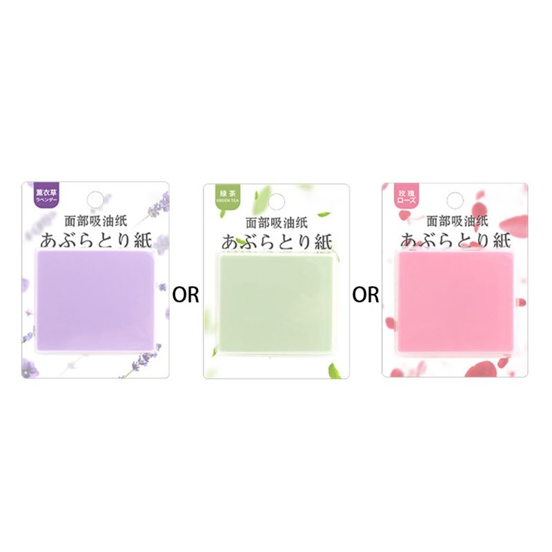 Portable Facial Absorbent Paper Wipes Oil Control Face Cleanser Green Tea Rose Lavender With Mirror Men Women Random Color
