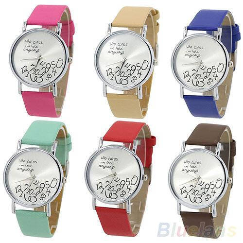 Fashion Trendy Women's Men's Watches Alphabet Pattern Faux Leather Strap Arabic Numerals Letters Printed Couple Wrist Watch