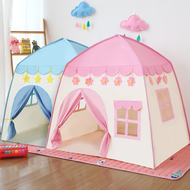 Folding Kids Tent Baby Play House Large Room Flowers Blossoming Tipi Indoor Outdoor Tent Best Birthday Gift Pink Big Teepee