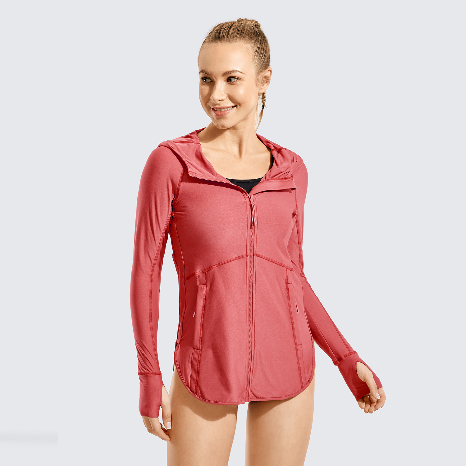 Mulher completo zip up hoodie mangas compridas workout topos praia maiô surf rash guard image