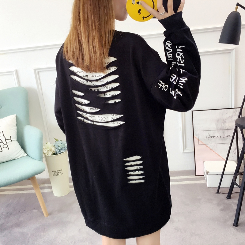 2019 autumn new Korean version of the XL T-shirt women's thin section long-sleeved loose hole wild T-shirt shirt women 82