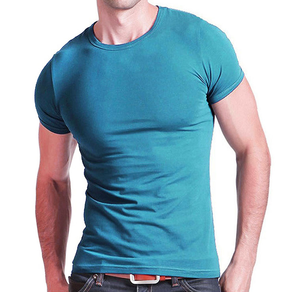2019 Stretch Lycra V Collar Mens   T     Shirt   Solid Color Short Sleeved   T  -  Shirt   For Male Men Tights Slim Tshirt
