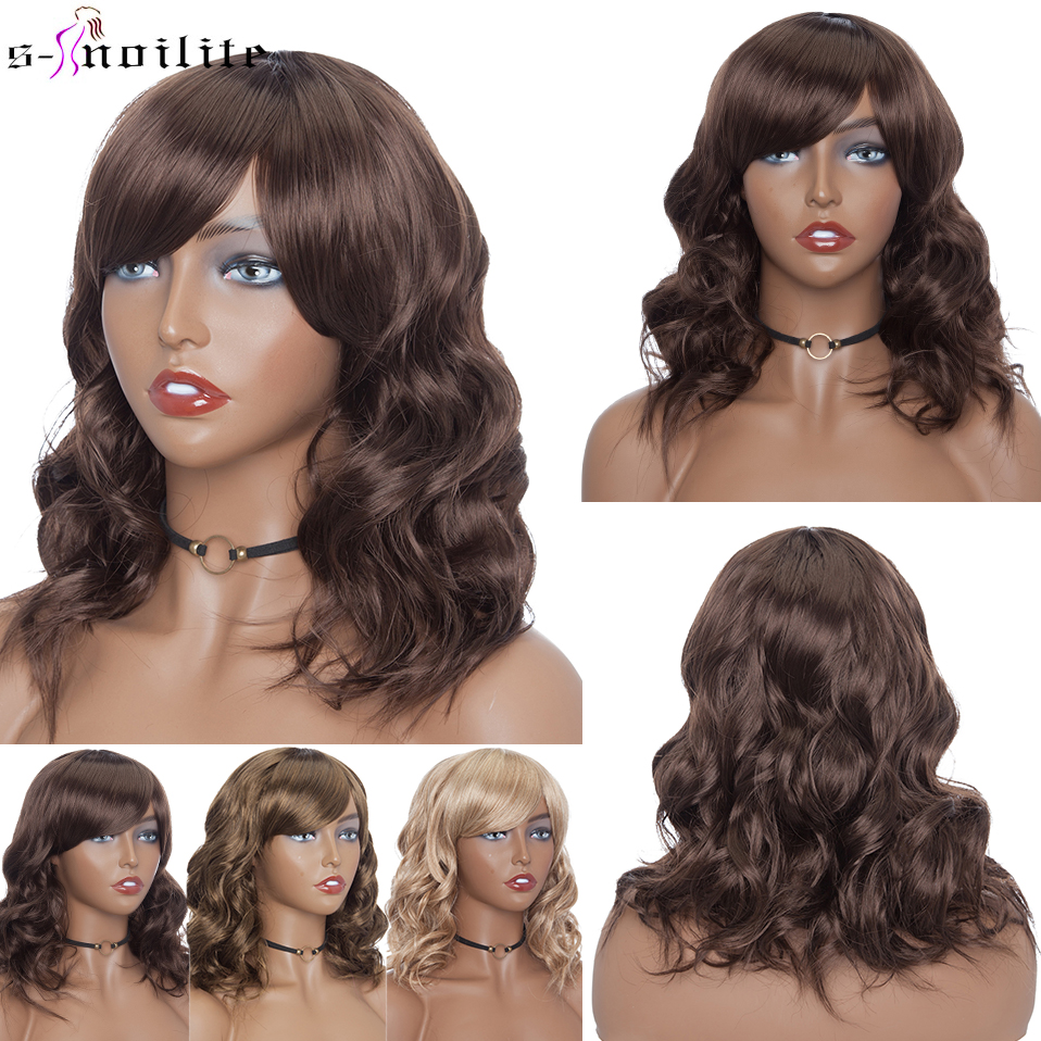 SNOILITE 14inch Bob Wig With Bangs Synthetic Short Wavy Bob Hair Wigs For Women Heat Resistant Brown Pink Red Ombre Cosplay WigsSynthetic None-Lace  Wigs   -