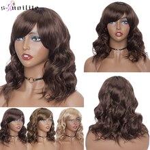 Snoilite 14 polegada bob peruca com franja sintético curto ondulado bob perucas de cabelo para as mulheres resistente ao calor marrom rosa vermelho ombre cosplay perucas