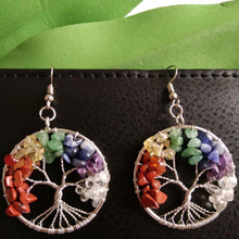 Brincos árvore da vida com as cores dos 7 chakras