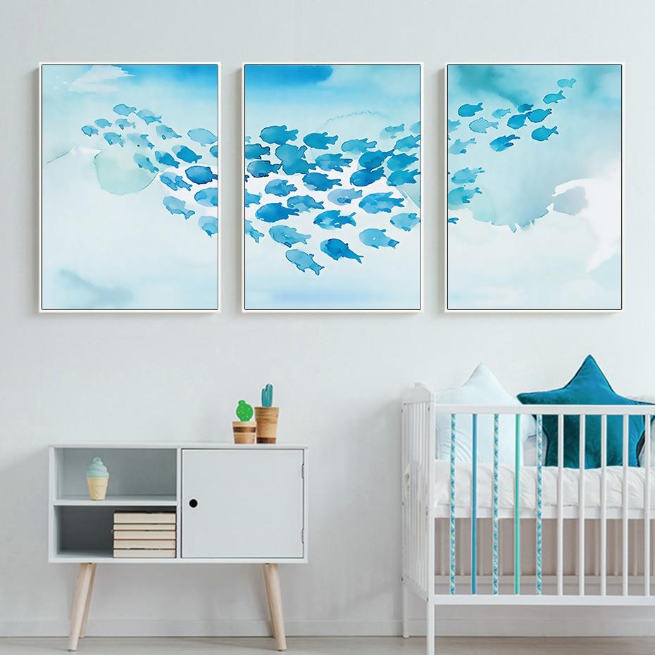 Абстрактный постер, мультфильм, синяя рыба, группа, холст, картина, Детская стена, искусство, фотографии, печать, комната, декоративные для детской комнаты