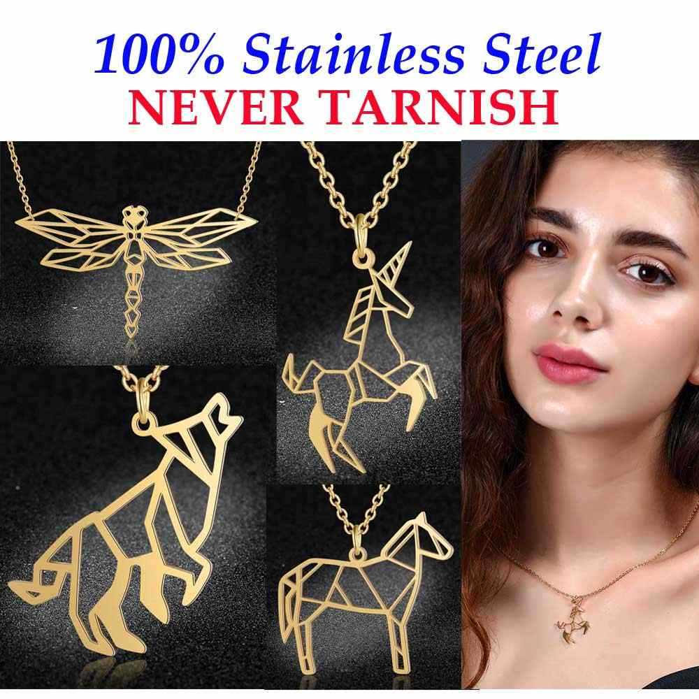Super Quality Dragonfly Necklace 100% Stainless Steel Unicorn Horse Pendant Necklaces for Women Female Wolf Bee Fashion Jewelry