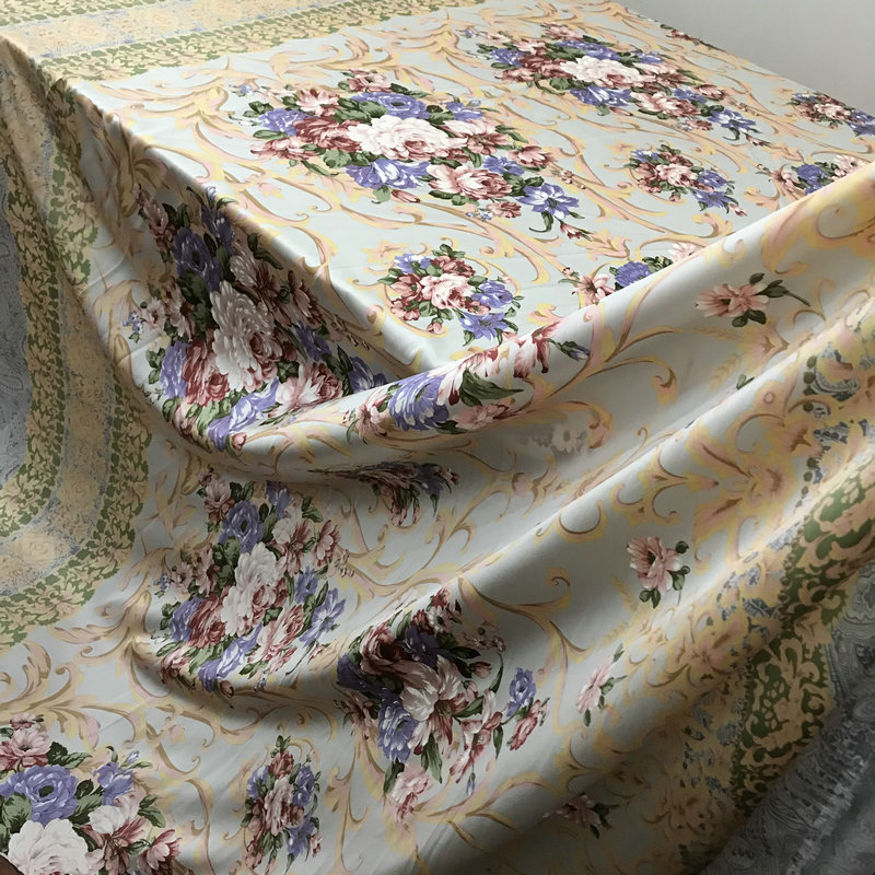 Silk Fabrics For Home Bed Cover Clothing Meter 100% Pure Silk Satin Charmeuse 2.4M Width Printed Retro Flower High-end Free Ship