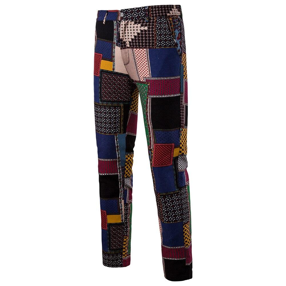 Мужская Мода Национальный Ветер Повседневное модные Для мужчин Блейзер Для мужчин s Брюки - Цвет: 04