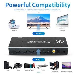 Image 2 - HDMI 2,0 Switcher 4K 60Hz 4X1 Splitter Matrix 4 IN 1 HERAUS SPDIF + 3,5mm Audio Extractor & ARC HDCP 2,2 Mit IR Fernbedienung HDMI Adapter