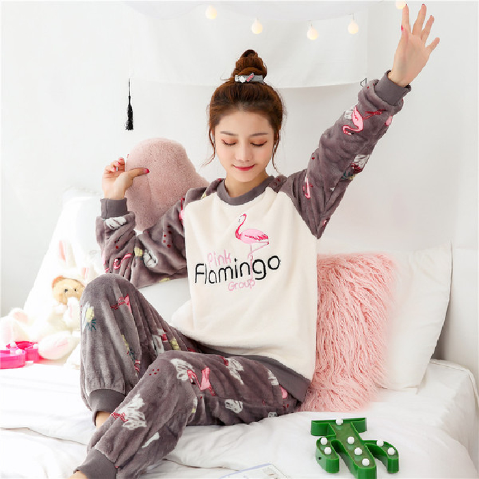 2019 Winter Warm Flannel Women Pyjamas Sets Thick Coral Velvet Long Sleeve Cartoon Sleepwear Thin Flannel Pajamas Set For Girl