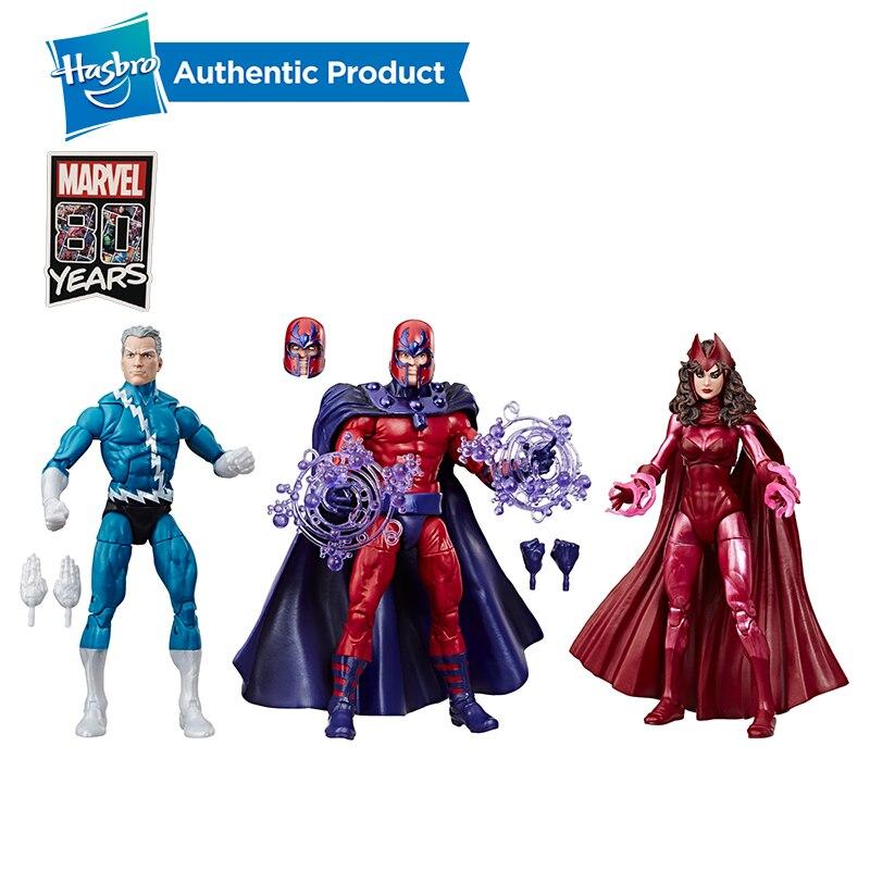 Hasbro marvel legends collection exclusivo 6 Polegada family matters 3 pacote com magneto quicksilver & scarlet wizard figuras de ação