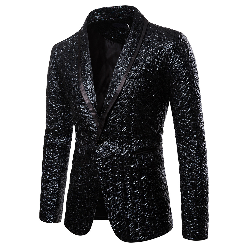 CYSINCOS Black Blazer Slim Masculino Abiti Uomo Wedding Prom Blazers Single Button For Men Stylish Suit Streetwear Jacket Male