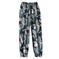 2021 nuevo Floral impreso pantalones primavera delgada de verano y fresco Anti-Mosquito pantalones de Casa rayón suave de las mujeres dormir fondo con bolsillo