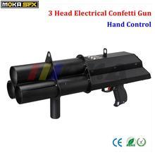 3 shot FX confetti gun confetti blower hand control DMX 3 channels stage confetti machine for wedding decoration