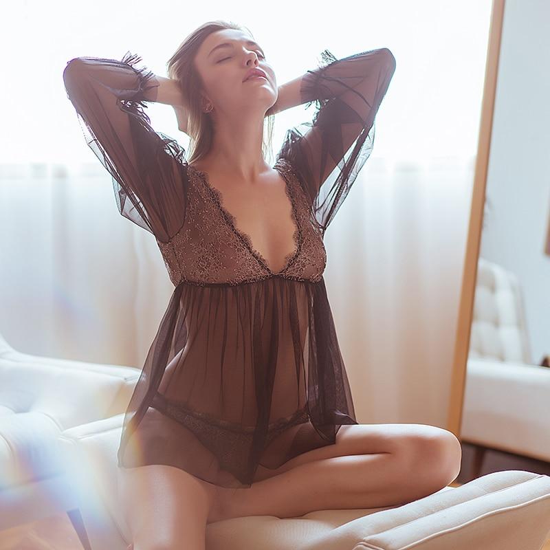 Hoyyezen French Lace Halter Pajamas Female Summer Sexy Princess Wind Long Sleeve Slim Transparent Nightdress Set