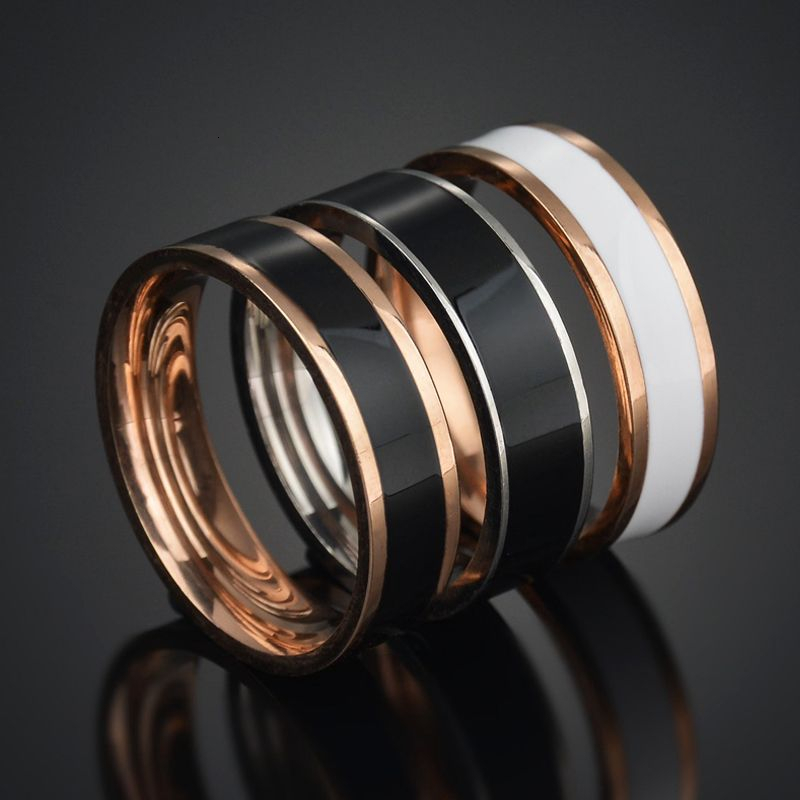 Trendy Rose Gold Stainless Steel Wanita Cincin Perkahwinan White Black Enamel Ring Punk Lover's Jewlery Men Bague