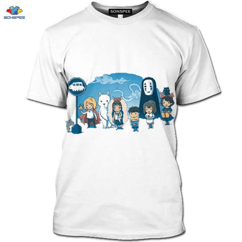 Sonspee 3d hayao miyazaki anime filme animado fora camiseta bonito animal mouse camisa masculina elemento branco loli dos desenhos animados camiseta