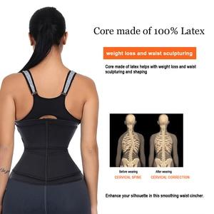 Image 4 - HEXIN Double Belt 100% Latex Waist Trainer Body Shapers Fitness Waist Trainer Zipper Shapewear Slimming Belt Fajas Colombianas