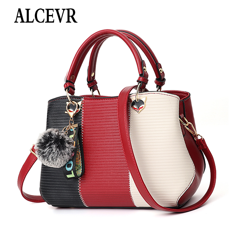 ALCEVR Hairball Ornaments Totes Patchwork Handbag Panelled PU Leather Party Purse Ladies Shoulder Crossbody Bags Shopping Bags