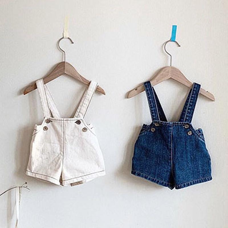 MILANCEL Korean Spring New Kids Overalls Shirts Style Girls Denim Overalls Boys Playsuit