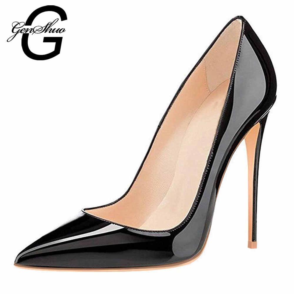 GENSHUO kadın pompaları yüksek topuklu ayakkabılar siyah rugan sivri burun seksi Stiletto ayakkabılar kadın bayanlar artı büyük boy 11 12