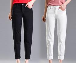 Новые черные и белые джинсы, женские летние свободные штаны, Тонкие штаны с девятью точками, женские HG623-01-14