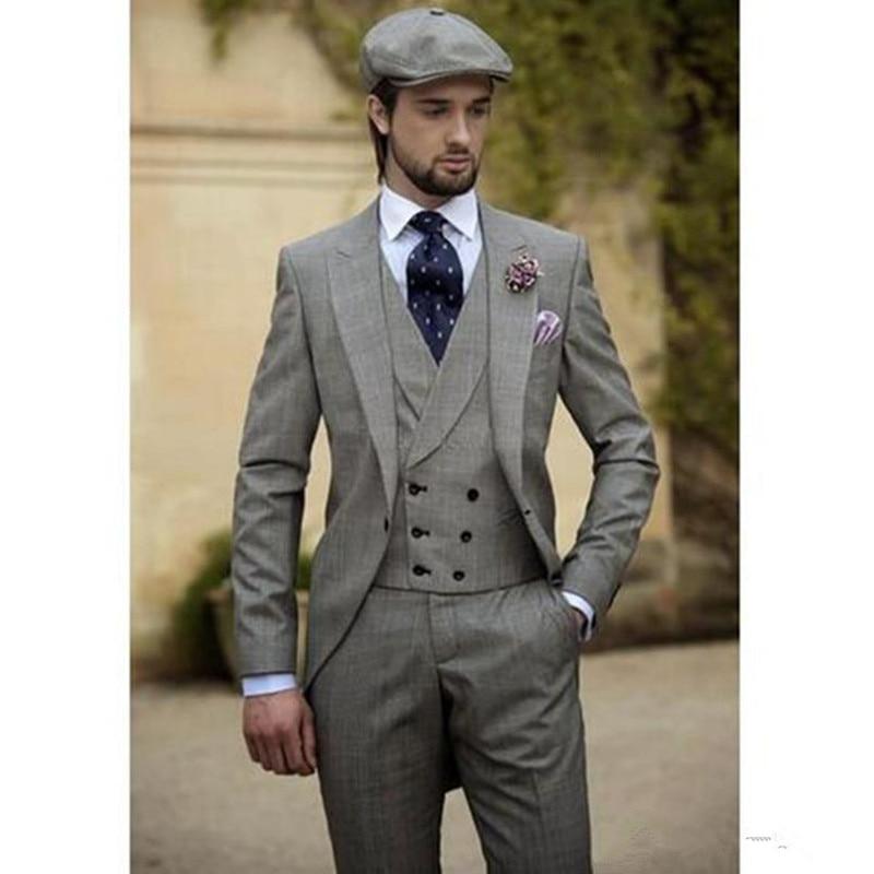 Three Piece Best Men Suits Vintage Grey Men's Wedding Tuxedos Slim Fit Groom Wear Business Suit ( Jackets+vest+pants)