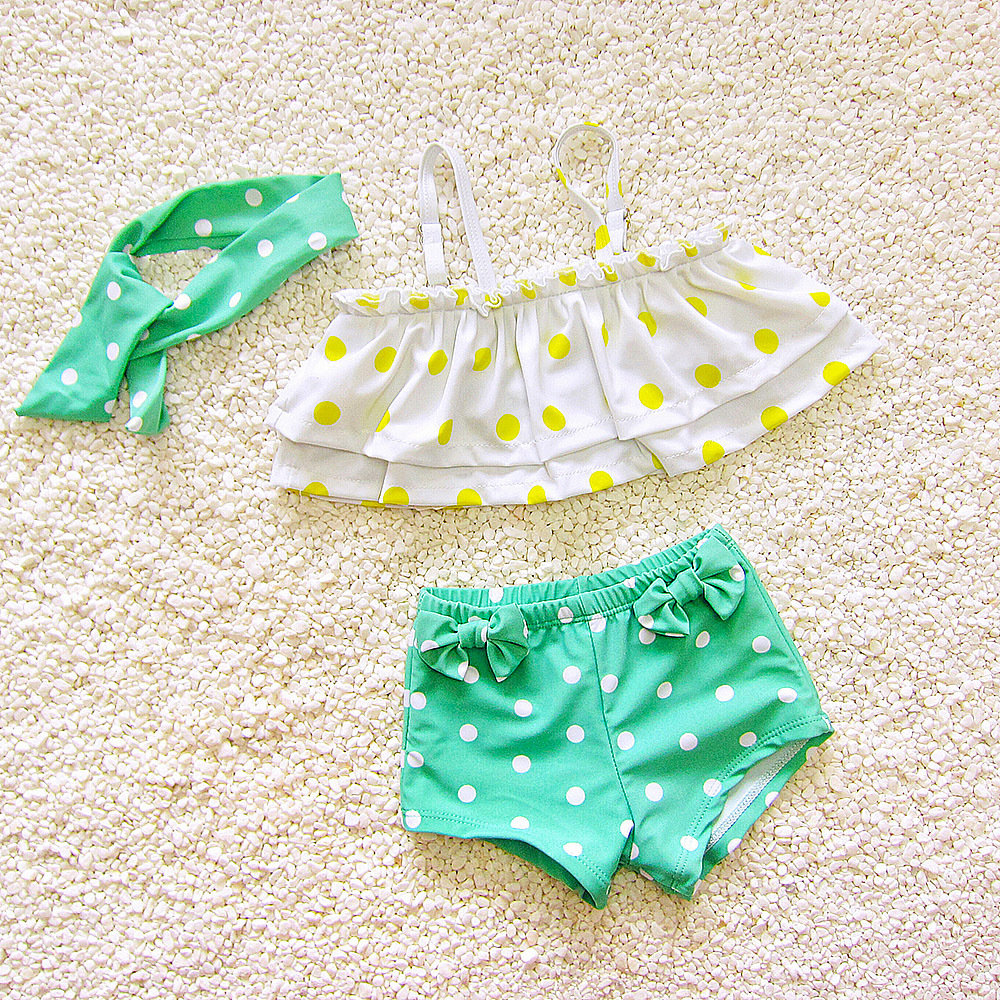 Girl'S Cute Sweet Infants Korean-style Polka Dot Large Children Split Type Boxer Three-piece Set Hot Springs Bathing Suit