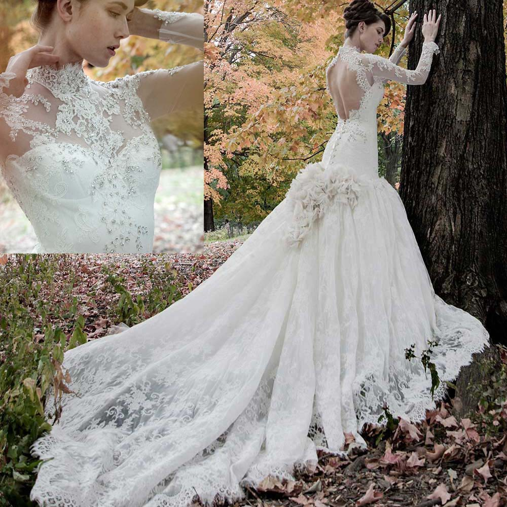 2019 Gorgeous High Neck Long Sleeve Wedding Dresses Lace Mermaid Bridal Gowns Backless Vestido De Noiva Sereia W3897