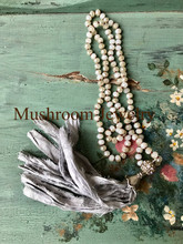 Sari Silk Tassel Necklace Crystal Beads Boho Necklade White Beaded Necklace