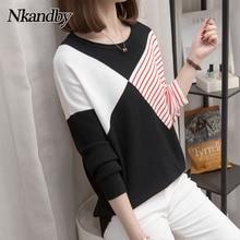 Pullover Sweaters Knitwear Loose Winter Korean Striped Plus-Size Femme Female Autumn