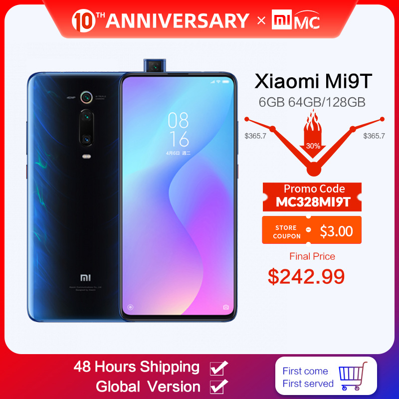 Xiaomi 9T 6gb 64gb Mi-9t 48MP Nfc Quick Charge 4.0 Screen slider/Game turbogpu turbo/Elevating camera/Gorilla glass title=