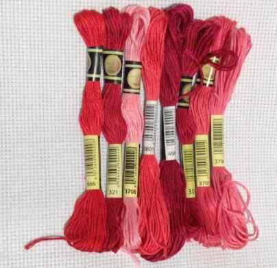 خيط تطريز من القطن ذو 8 خيوط متقاطعة وخياطة متقاطعة ، خيط خياطة متدرج للحرف اليدوية