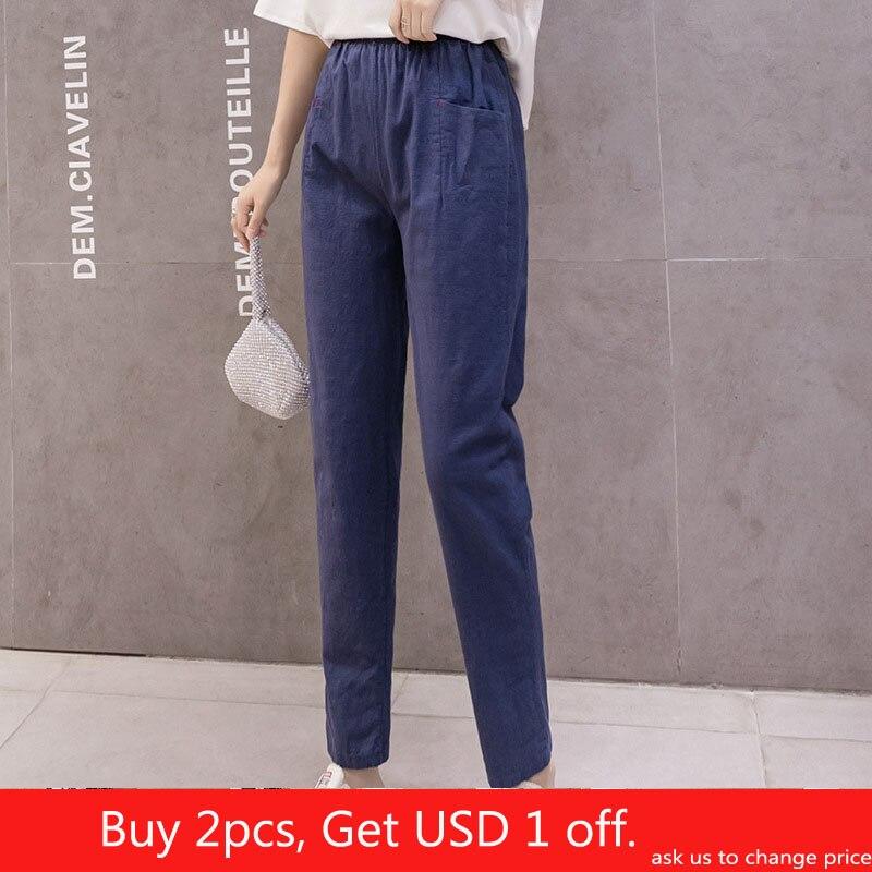 Cotton Linen Ankle Length Trousers Spring Summer 2020 Thin Loose Casual Pants Women's Harem Pants Breathable Cotton Pencil Pant