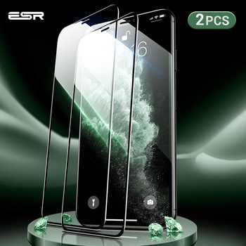 ESR 2pcs Screen Protector for iPhone 11 Pro X XS XR XS Max 3D Full Coverage Easy Install Clear Premium Protective Tempered Glass 1