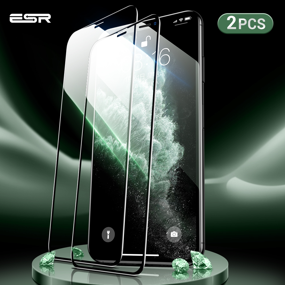 ESR 2pcs Screen Protector For IPhone 11 Pro X XS XR XS Max 3D Full Coverage Easy Install Clear Premium Protective Tempered Glass