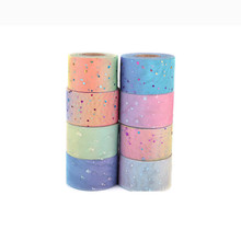 Hot 60mm (22meter/lot) Star Bling Rainbow Sequin Chiffon Organza Ribbon DIY Handmade Materials Wedding Party Gift Wrap Supplies