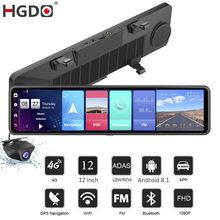 2020 hgdo 12 ''4g câmera de ré para carro, dvr, android 8.1, adas, retrovisor, fhd 1080p, wi-fi, gps gravador de vídeo do câmera 2g + 32g