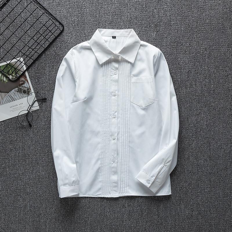 Japanese Student School Uniforms Long Sleeve White Shirt For Girls School Dress Jk Sailor Suit Top Work Uniform Shirt  For Women