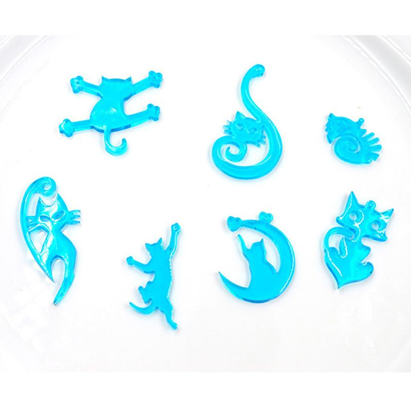 8Pcs Cute Cat Pendant Resin Silicone Molds Kit Jewelry Making Tools Art Crafts   N58F