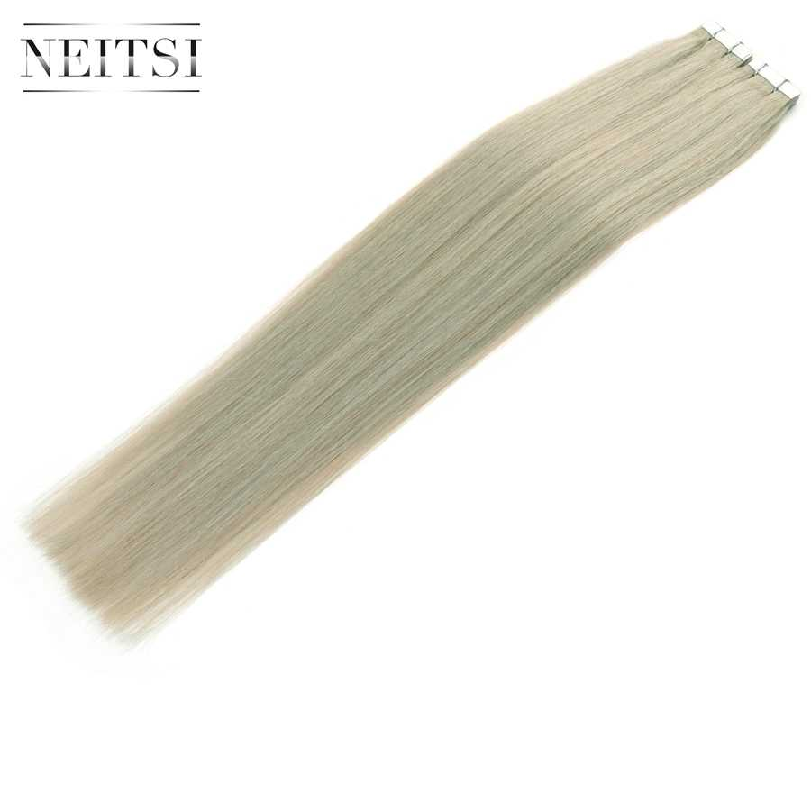 Neitsi Skin Weft Adhesive Hair None Remy Tape In Human Hair Extensions Grey# Color Straight Double Side Tape Hair 20pcs 40pcs