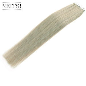 Image 2 - Neitsi Skin Weft Adhesive Hair None Remy Tape In Human Hair Extensions Grey# Color Straight Double Side Tape Hair 20pcs 40pcs
