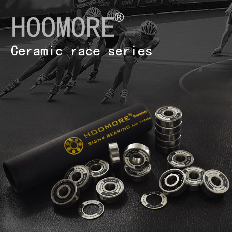 HOOMORE Branded Si3N4 608RS Black Ceramic Speed Bearing For Inline Speed Skates Shoes Professional Race 7 Beads Ceramic 16 Pcs