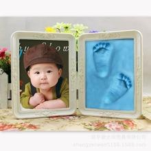 DIY Infant Footprint Gift Delicate Photo Frame Baby Childhood Souvenir Memorable Blue Mud Meaningful Decoration Fine Baby Room