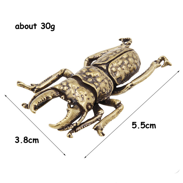 Antique Bronze 6 Styles Beetles Miniature Figurines Desktop Decorations Pure Brass Insect Tea Pets Ornament Home Decor Accessory 4