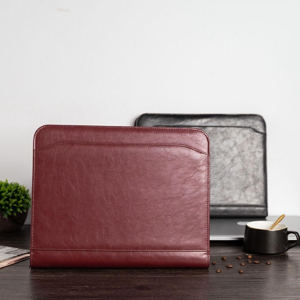 A4 Document File Folder Binder Padfolio Portfolio Briefcase With Calculator Zipper PU Leather Business Office Folder Manager