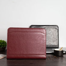 цена на A4 Document File Folder Binder Padfolio Portfolio Briefcase with Calculator Zipper PU Leather Business Office folder manager