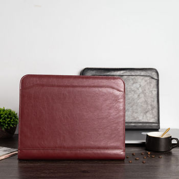 A4 Document File Folder Binder Padfolio Portfolio Briefcase with Calculator Zipper PU Leather Business Office folder manager